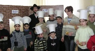 Brest Synagogue with Children Wearing Chef Hats, 2004